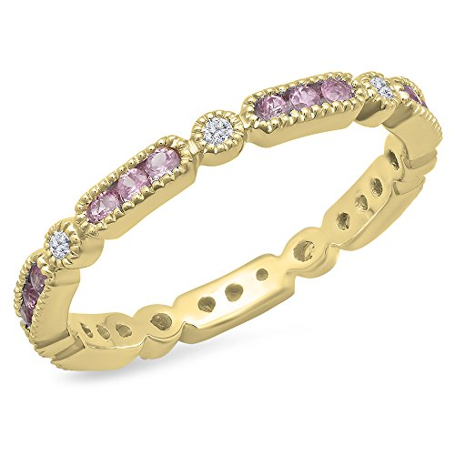 14K Yellow Gold Round Pink Sapphire And White Diamond Ladies Vintage Style Wedding Eternity Band 1/2 CT by DazzlingRock Collection