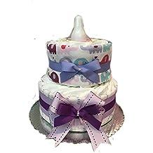 Purple Blankie Baby Shower Diaper Cake- 2 Tier