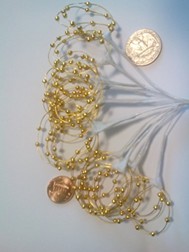 Pearl Sprays Gold Bead Loops. Pack Of 36 Stems (Christmas Floral Picks)