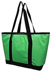 This large insulated tote combines thick insulated padding with a PEVA liner to block out heat and keep frozen foods cold on the inside. The leak proof lining is easy to clean and when you are done using it, this tote folds up flat for conven...