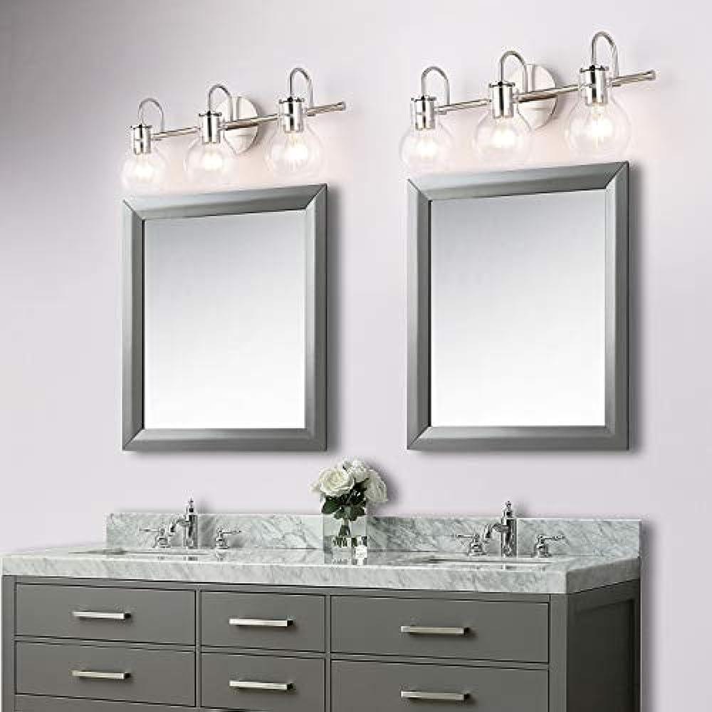 Brushed Nickel Bathroom Lighting Fixtures Over Mirror ...
