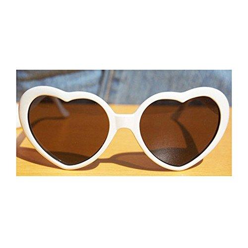 Plastic Frame Fashion (VANKER White Fashion Cute Women Lady Girl Oversized Heart-Shaped Plastic Frame Retro Sunglasses Eyeglasses Glasses)