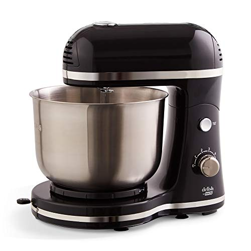 Delish by Dash Compact Stand Mixer, 3.5 Quart with Beaters & Dough Hooks Included – Black