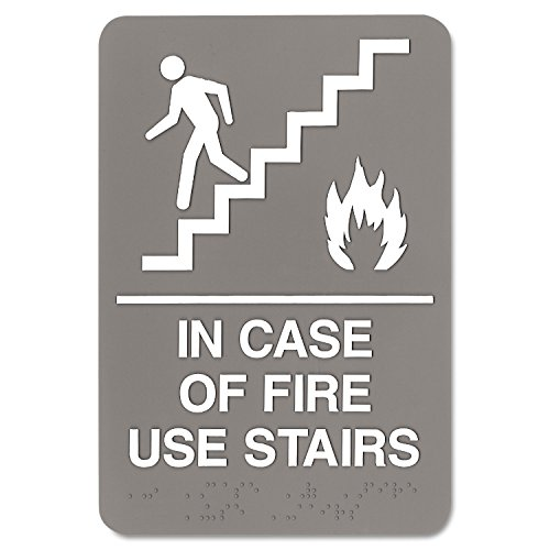 Hot ADA Sign, 6 x 9, In Case of Fire Use Stairs, Gray for sale