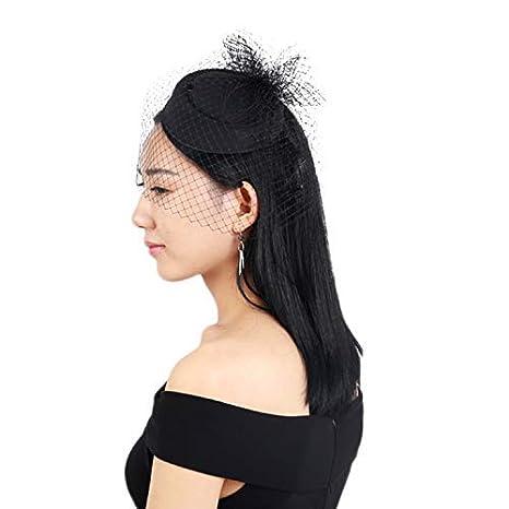 Fascinator Hats Pillbox Hat Bowler Veil Mesh Ribbons/Headwear Wedding Party Hat for Women Lady Girls