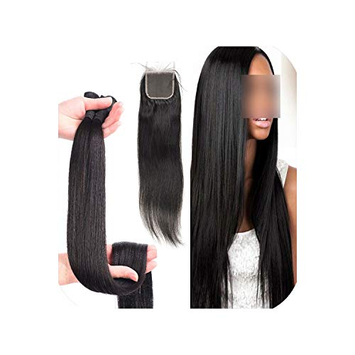 (30 Inch 40 Inch Bundles With Closure Straight Virgin Remy Brazilian Hair Weave Bundles Human Hair Extension 3 Bundles 4 Bundles,10 12 With)
