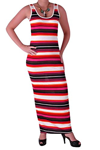 Psychedelic Stripes Jersey Maxi Style Dress Medium / (Psychedelic Maxi Dress)