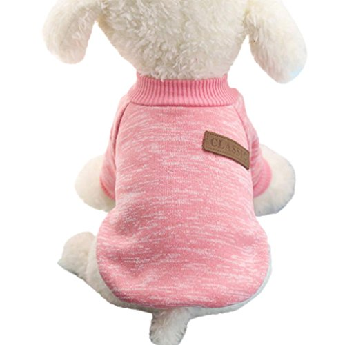 Image of MALLOOM Pet Dog Puppy Classic Sweater Coat Tops Fleece Warm Winter Knitwear Clothes (M, Pink)