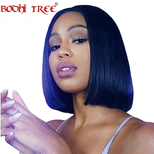 - BODHI TREE Straight Bob Brazilian Virgin Human Hair Lace Front Wigs 150% Density Full End Glueless Short Bob Human Hair Wigs With Baby Hair For Women (Lace front wig 10 Inch)