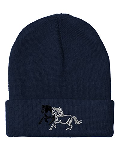 Animal Running Horses Embroidered Unisex Adult Acrylic Beanie Winter Hat - Navy, One ()