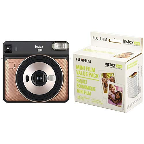 Fujifilm Instax Square SQ6 – Instant Film Camera – Blush Gold with Mini Instant Film Value Pack – (3 Twin Packs, 60 Total Pictures)