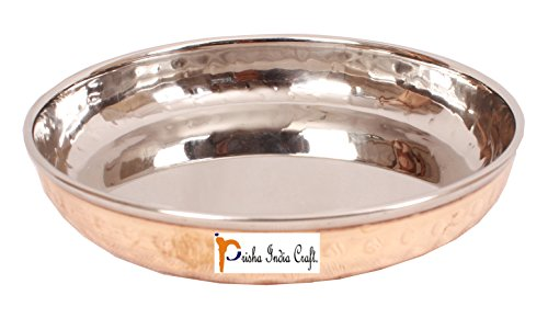 Prisha India Craft Copper Dessert Plate , Gold