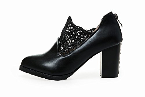 Charm Fot Womens Fashion Dragkedja Spets Chunky Hög Klack Boots Svart