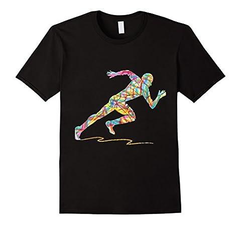 Mens Colored Ribbon Running Man T-Shirt | Running Cardio Sprints Medium Black - Mens Sprint Walker