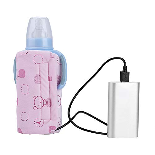 Baby Bottle Warmer - USB Portable Travel Mug Milk Heater Bottle Heater Feeding Bottle Infant Storage Bag (Color : Pink)