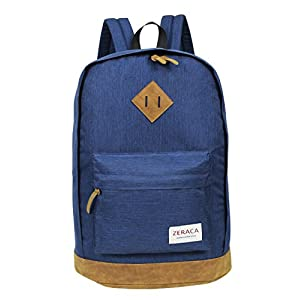 Zeraca Men Women Vintage Laptop Backpack for Middle High School College Blue