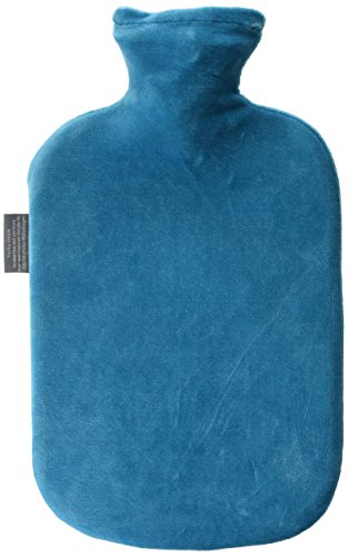 Petrol Plaid (Fashy Hot Water Bottle with Velour Cover Petrol Blue - Made in Germany)