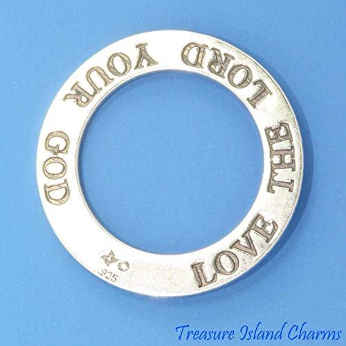 Love The Lord Your GOD Hebrew Jewish .925 Solid Band Pendant -