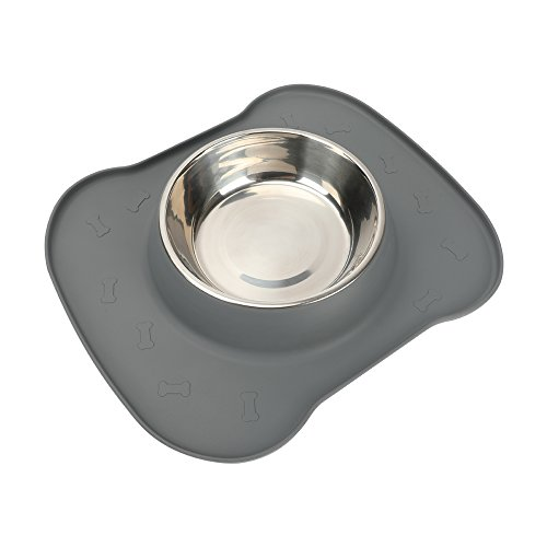 SAFETY PET DOG FEEDING BOWLS-pampering(2017 hot selling)silicone pet single bowls for dog cat pet,including 1 set stainless steel bowl,1 No Spill Silicone Mat and Non-Skid Silicone Bowls . (grey) (Tip Single Tray)