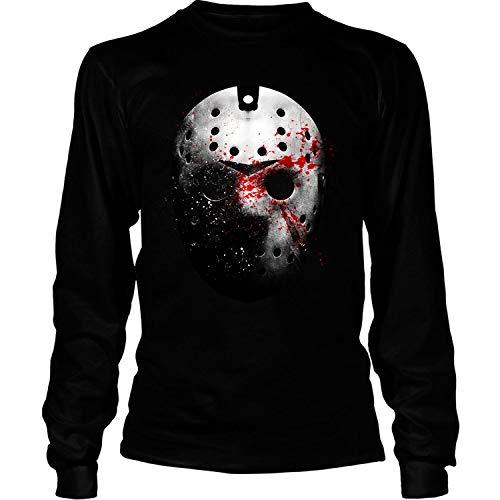Jason Voorhees Face Mask Shirt, Friday The 13th T Shirt - Long Sleeve Tees (XXL, Black) ()