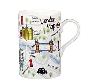 James Sadler JSLC00171 - Taza de porcelana fina, diseño de mapa del metro de Londres