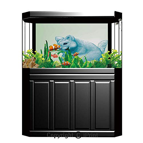 Fish Tank Background Decor Static Image Backdrop,Animal,Dear Blue Mouse with Tulip Bouquet Caricature Hamster Chinchilla Mascot Rodent Toy,Multicolor,Underwater Ecosystem Photography Backdrop for Phot - 20 Bouquet Light Tulip