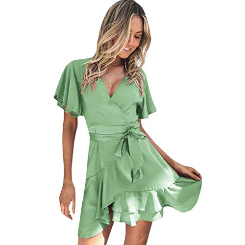 Pengy Women's Dress Casual Silky Holiday Sexy Ruffle Sleeve V Neck Dress Beach Evening Party Dress for Lady Green