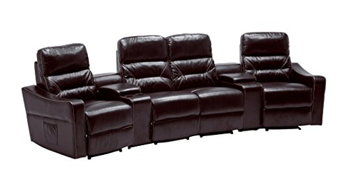 MCombo PU Leather 4 Seat Reclining Home Theatre Sectional Heated Sofa Vibrating Massage Chair, Chocolate Brown 7096