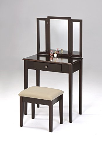 3-Piece Folding Mirror Vanity Set Dresser with Stool - Espresso