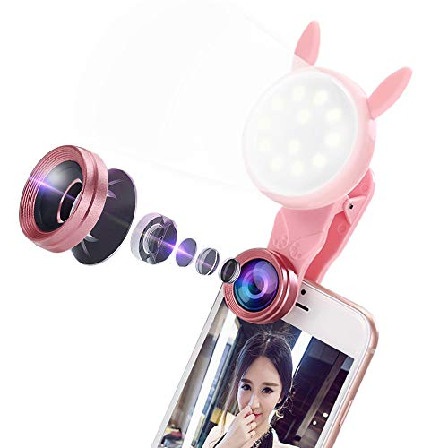 Pakesi Selfie Ring Light with 2 in 1 Macro and Wide Angle Cell Phone Camera Lens 3 Light Modes with 7 Adjustable Brightness