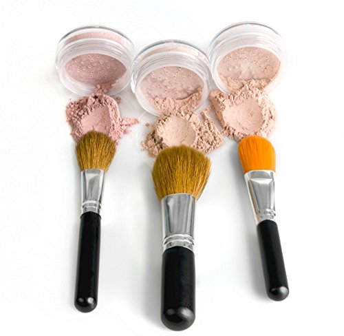 Bare Sheer Set (TRIO WITH BRUSHES (WARM Neutral Shade- Most Popular) Full Size Kit Mineral Makeup Brush Set Foundation Concealer Blush Bare Face Sheer Powder Cover)