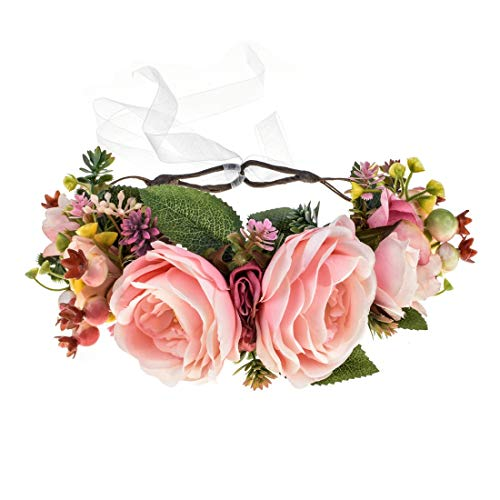 Vividsun Flower Crown Floral Headpiece Festival Wedding Hair Wreath Floral Crown (big pink rose)