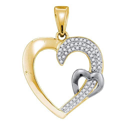 Dazzlingrock Collection Sterling Silver Womens Round Diamond 2-tone Heart Pendant 1/6 Cttw