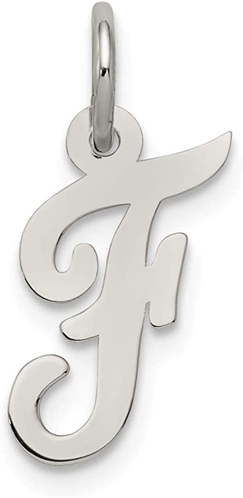Solid 925 Sterling Silver Small Unique Script Initial Letter F Alphabet Charm Pendant 16mm