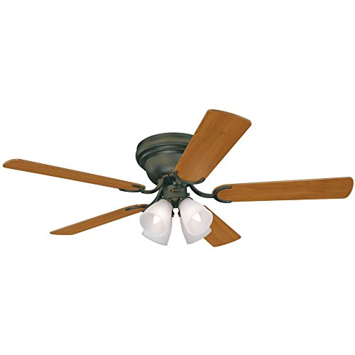 Westinghouse Lighting 7866000 Contempra IV Four-Light 52-Inch Five-Blade Indoor Ceiling Fan, Oil-Rubbed Bronze with Frosted Ribbed-Glass Shades from Westinghouse Lighting