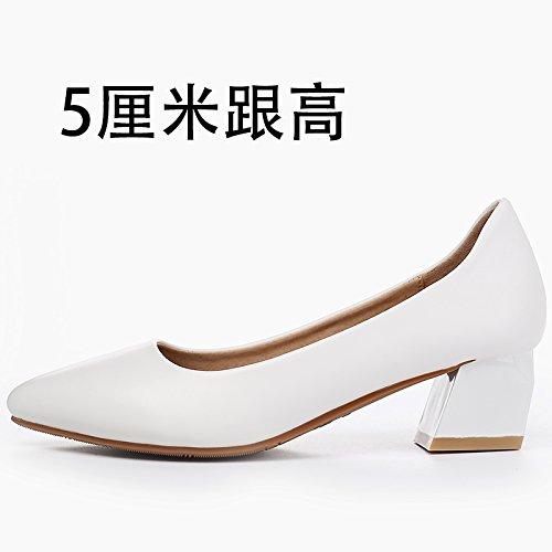 GAOLIM En Été, La Fille Astuce Pro Chaussures Femmes Chaussures De Travail Avec Bold Lumière Blanche Avec Un Grand Nombre De Chaussures De Travail Chaussures Femmes White5Cm