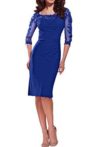 Dunkel Promkleider Rot Blau Partykleider Promkleider Brautmutterkleider Royal Langarm Kurz Charmant Spitze Damen E5nwPHxnq8