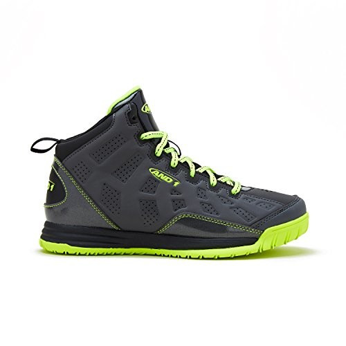 AND1 Kids Show Out Basketball Shoe, 3 M US Little Kid Grey/Black/Lime