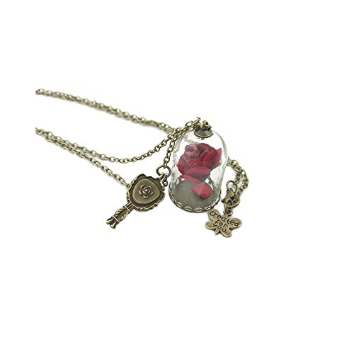 Beauty and the Beast Rose & Charms Necklace w/Gift Box by (The Beast X Men Costume)