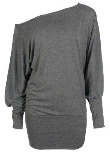 Mujer Mujer Celebrity Hombro apagado Batwing manga larga camiseta SZ-8–�?4 gris oscuro