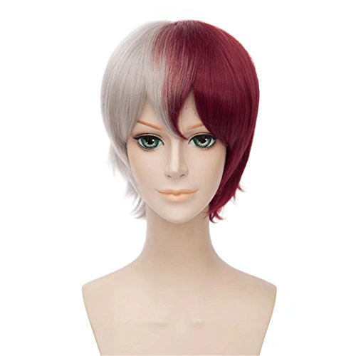 Kadiya Short Silver Red Mixed Cosplay Wig with Free Wig Cap for Boy Male ()