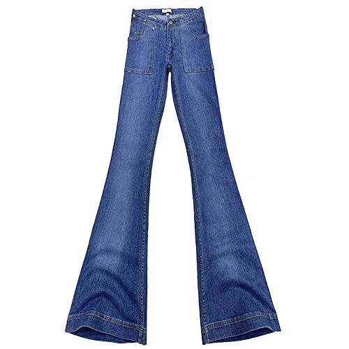 EESIM Women's Bell-Bottom Mid-Rise Wide Flare Jeans, Low-Waist Stretch Denim Pants Blue