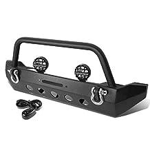 """Jeep Wrangler JK Black Stubby Crawler Front Bumper w/ D-Rin g+ 6"""" Clear Lens Black Housing Fog Lights"""