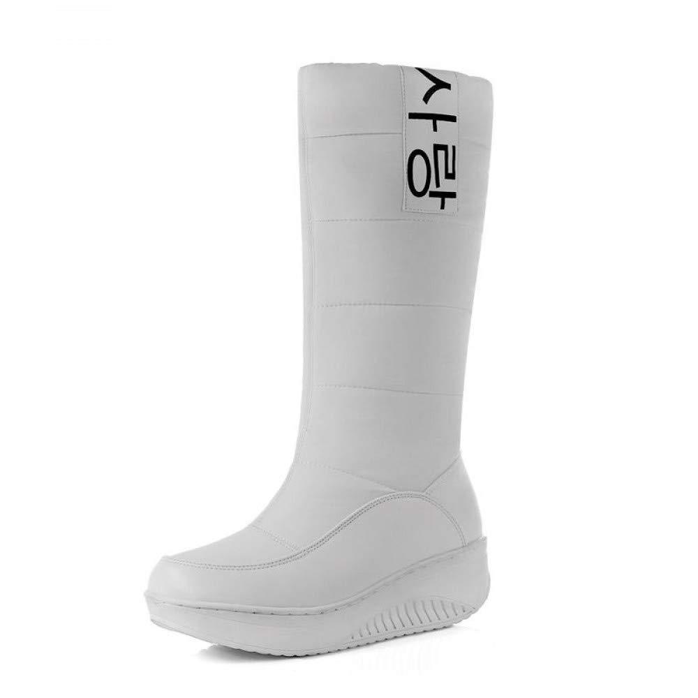 PINGXIANNV Meine Damen Schneeschuhe Keile Heels Schlupf Auf Frauen Winter Stiefel Süsse Schuhe
