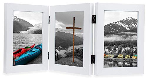 Golden State Art, Decorative Hinged Table Desk Top Picture Photo Frame, 3 Vertical Openings, 5x7 inches with Real Glass (5x7 Triple, White)