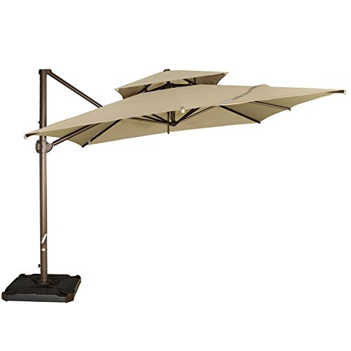 Abba Patio 9 by 9-Feet Square Offset Cantilever Umbrella Patio Hanging Umbrella with Dual Wind Vent, Cross Base and Umbrella Cover, Beige (9' Outdoor Square Patio Market)