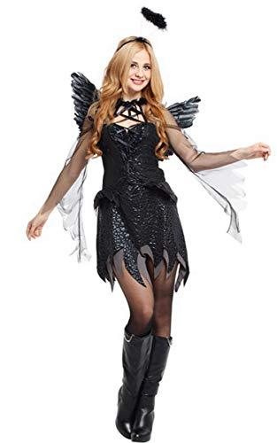 Fallen Angel Costume Women Dark Angel Halloween Costume Angel Wing & Halo Plus Size -