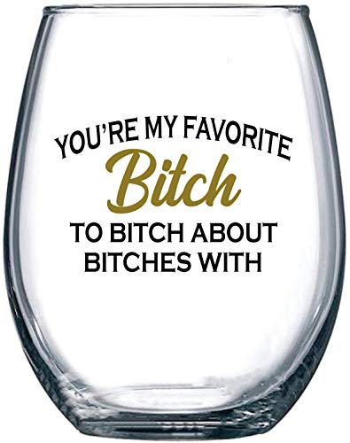 Best Friend Gifts For Women, Funny BFF Birthday or Christmas Present For Best Friend Women or Men 15 oz Dishwasher Safe Stemless Wine Glass for Wine Lovers, Unique Friendship Gift (Christmas Cheap Funny Presents)