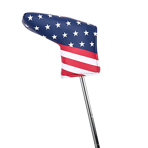 (HDE Putter Cover Blade Style Leather Headcover with Velcro Closure for Taylormade Ping Callaway Scotty Cameron Pinemeadow Ray Cook and Others (USA Flag))