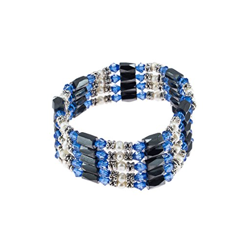 - Magnetic Hematite Beaded Wrap Bracelet, Anklet or Necklace with Genuine Fresh Water Pearls & Blue Beads
